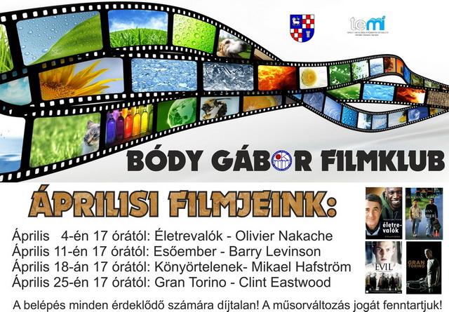 Bódy Gábor Filmklub áprilisi műsora