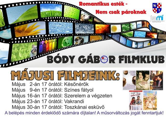 Bódy Gábor Filmklub május havi programja