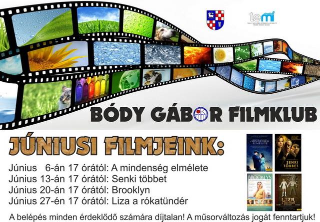 Bódy Gábor Filmklub júniusi műsora