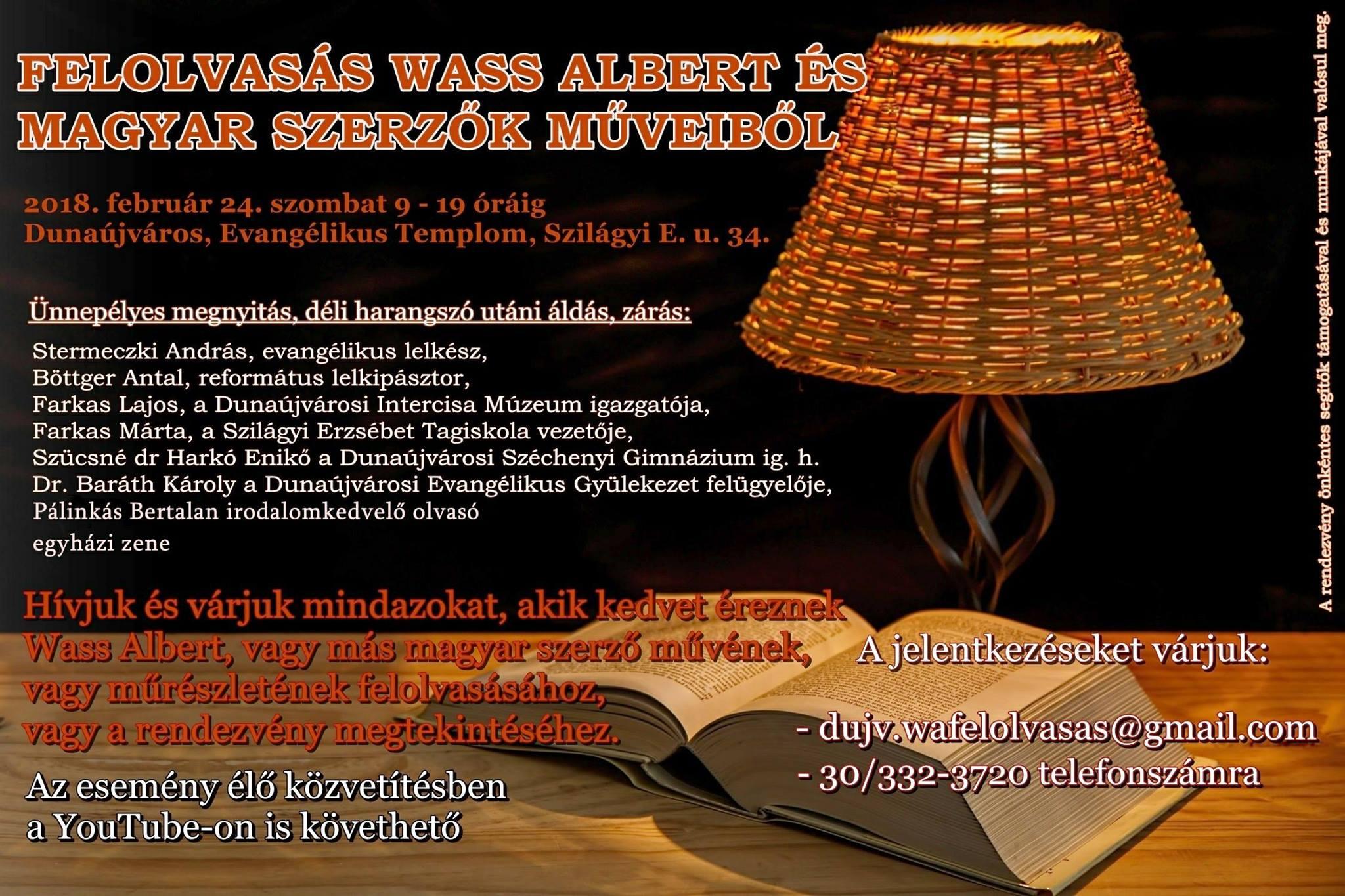 Felolvasás Wass Albert és magyar szerzők műveiből