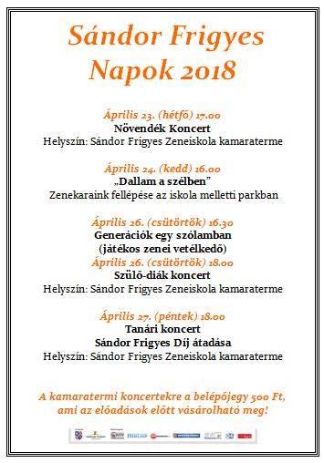 Sándor Frigyes Napok 2018.