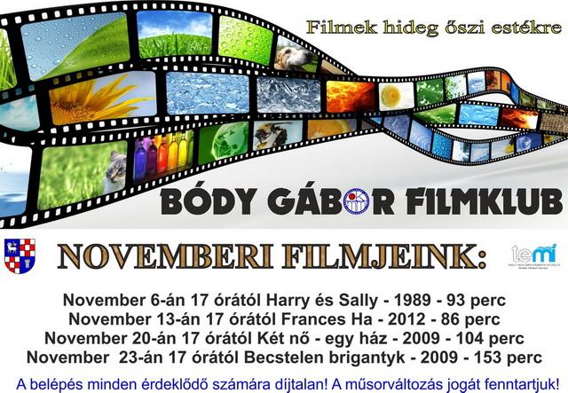 Bódy Gábor Filmklub novemberi programja