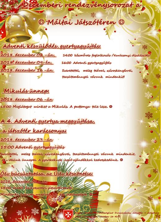 Decemberi rendezvénysorozat a Máltai Játszótéren
