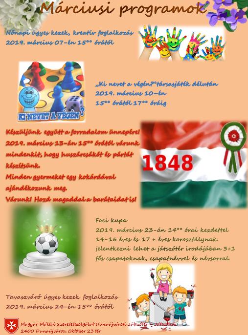 Márciusi programok a Máltai Játszóházban