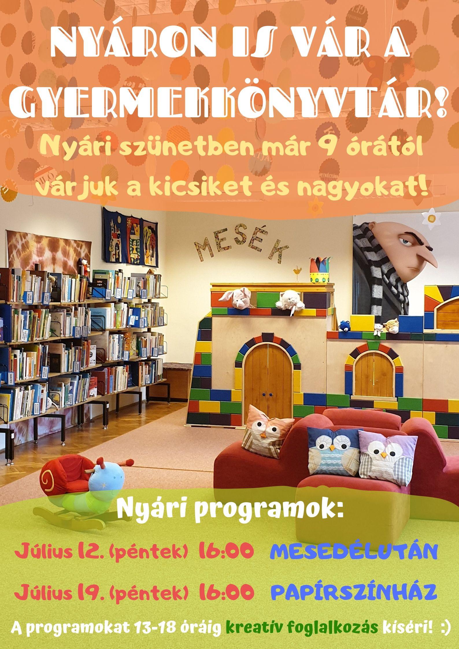 NYÁRI PROGRAMOK a Gyermekkönyvtárban