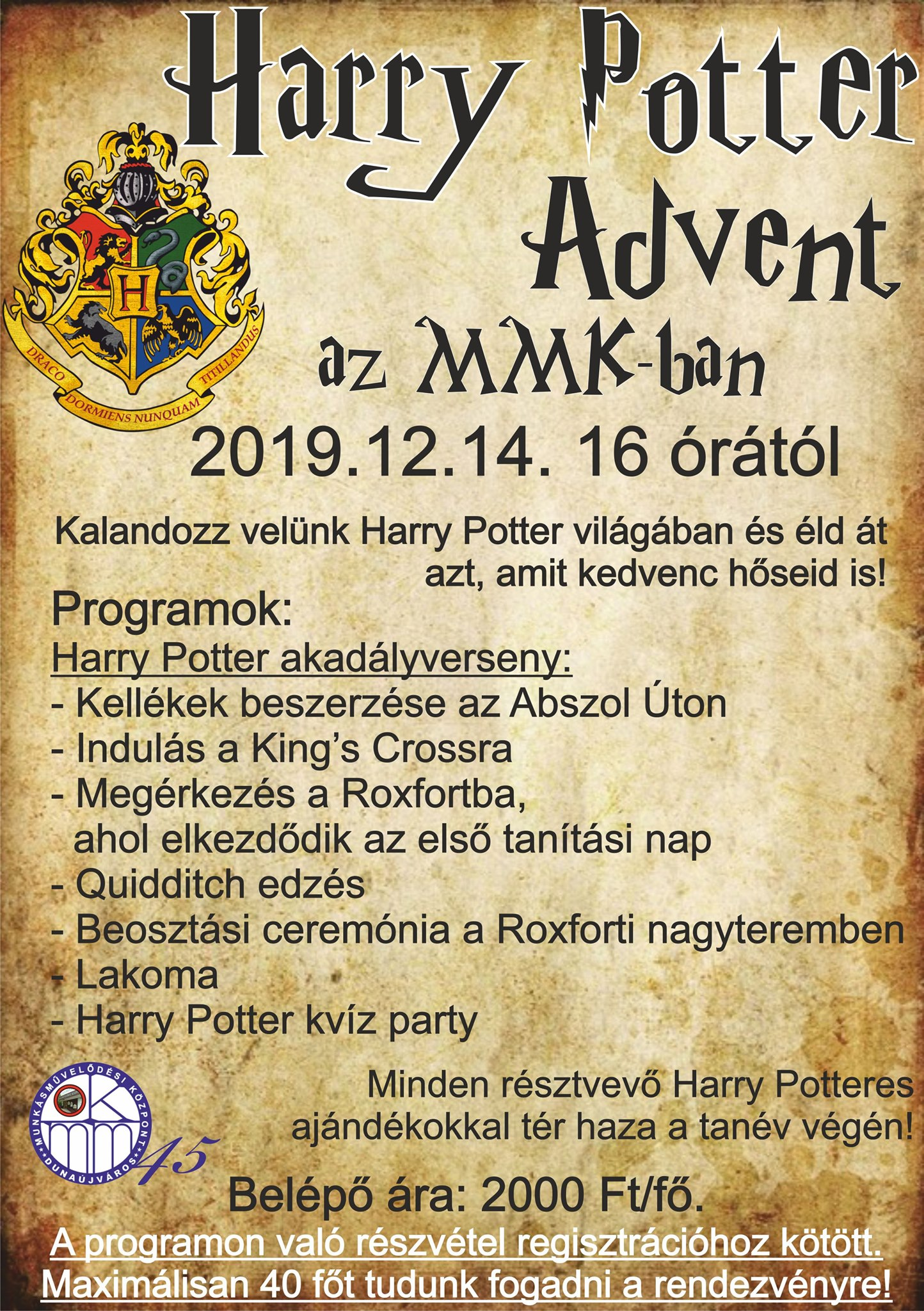 Harry Potter Advent az MMK-ban