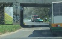 Kigyulladt egy kocsi a Dózsa György úton