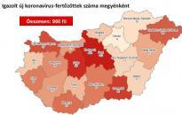 Vírus: 980 főre nőtt az azonosított fertőzöttek száma – Fejér a vörös zónában
