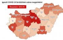 Járvány: 3213 fő fertőzött – Fejér megyében ismét nőtt az esetszám