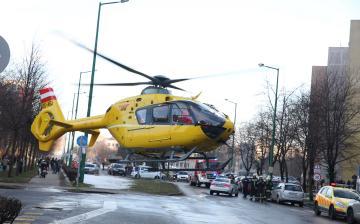 Mentőhelikopter a Vasmű úton!